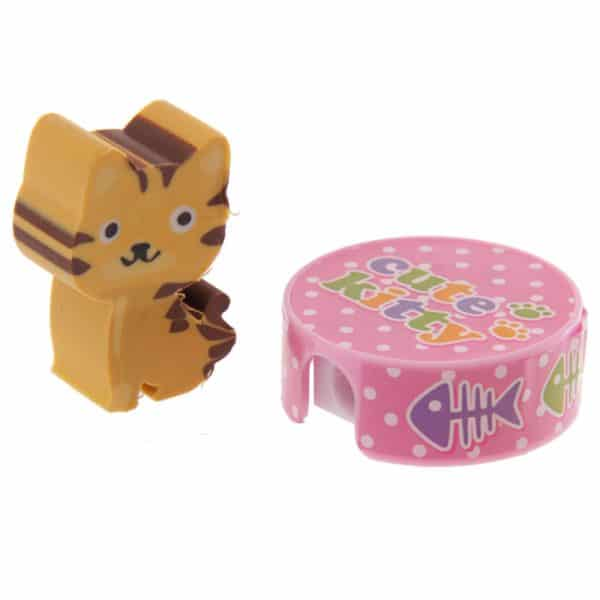 Cute Kitty Cat Eraser and Sharpener Set