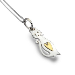 Cat with Brass Heart necklace