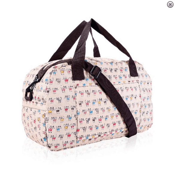 Cheeky Cats Eco Foldable Holdall Beige