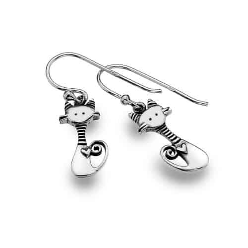 Stripy cat earrings
