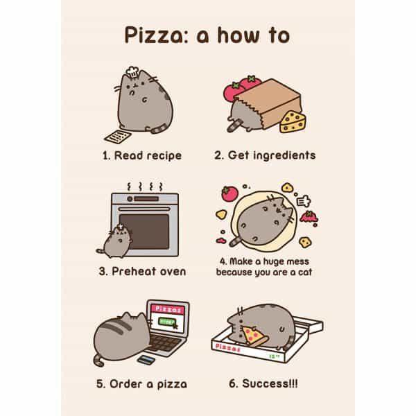Pusheen Pizza How To card