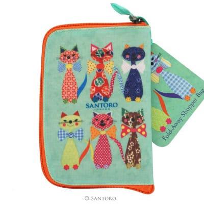 Santoro cats with bowties folding shopper back