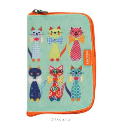 Santoro cats with bowties folding shopper front