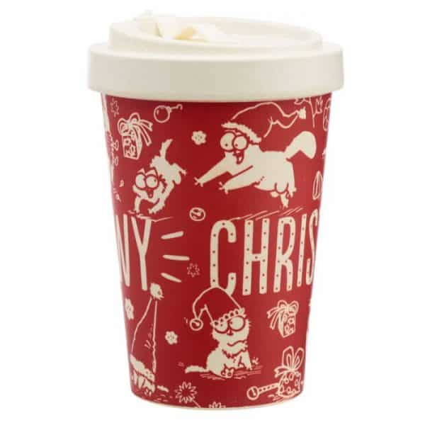 Simon's Cat Meowy Christmas Bamboo Travel Mug