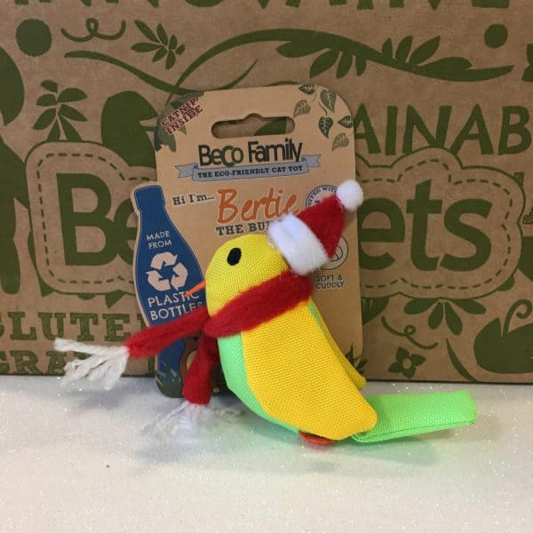 Christmas Bertie The Budgie Beco Pets Catnip Toy