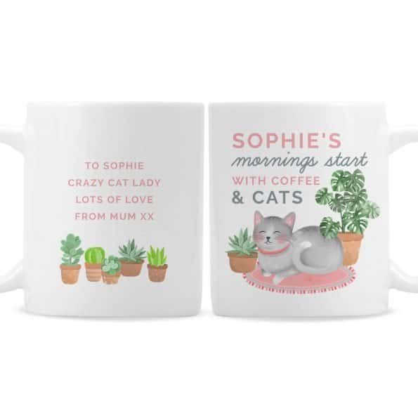 """Personalised """"Mornings Start with Cats and"""" Mug"""