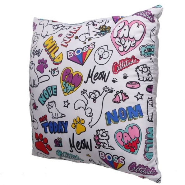 Simon's Cat Pawesome Cat Cushion Cover - White